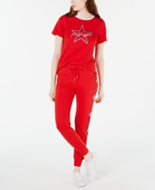 Tommy Hilfiger Star T-Shirt and Red Jogger Pants
