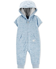 Baby Boys Animal-Print Hooded Cotton Coverall