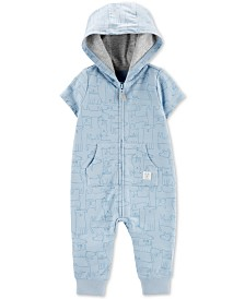 Carter's Baby Boys Animal-Print Hooded Cotton Coverall