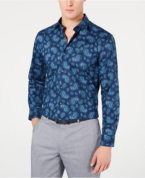 Bar III Men's Slim-Fit Stretch Paisley-Print Dress Shirt, Created for Macy's