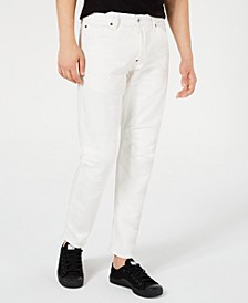 Men's Tapered White Moto Jeans