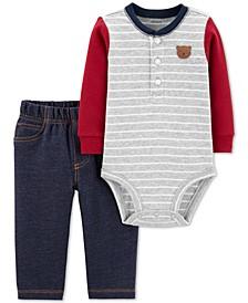Baby Boys 2-Pc. Colorblocked Bodysuit & Denim-Look Pants Cotton Set