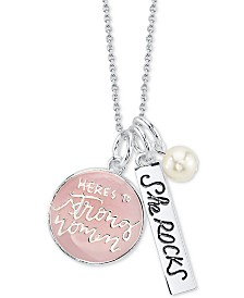 "Unwritten ""Here's to Strong Women"" Pink Enamel Pendant Necklace in Sterling Silver featuring Pearl Charm, 18"" Chain"