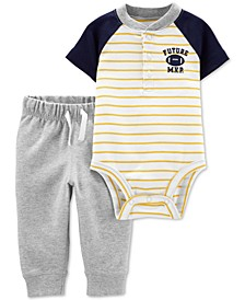 Baby Boys 2-Pc. Colorblocked Bodysuit & Jogger Pants Cotton Set