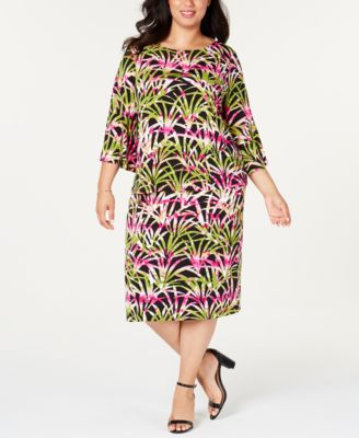Plus Size Printed Pull-On Skirt