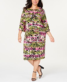 Kasper  Plus Size Printed Top & Skirt