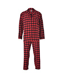 Hanes Men's Big and Tall Flannel Plaid Pajama Set