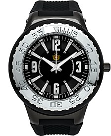 Pendragon Men's Watch Black Silicone Strap, Black Case, Black Dial, Silver Indexes, 53mm