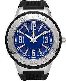 Pendragon Men's Watch Black Silicone Strap, Silver Case, Blue Dial, 53mm