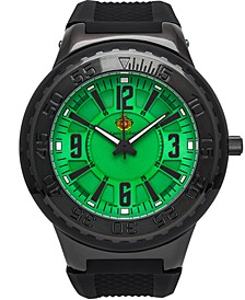 Pendragon Men's Watch Black Silicone Strap, Black Case, Black Bezel, Green Dial, Black Indexes, 53mm