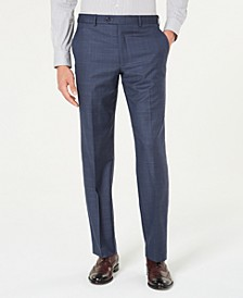 Men's Classic-Fit Airsoft Stretch Blue Windowpane Suit Pants