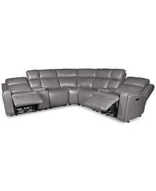 Saran 6-Pc. Leather Sectional Sofa with 2 Power Recliners, 2 Consoles & USB Port