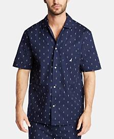 Nautica Men's Cotton Anchor-Print Pajama Shirt
