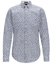 BOSS Men's Ronni_53F Slim-Fit Floral-Print Cotton Shirt