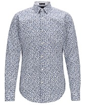 cb3bd6b02 BOSS Men's Ronni_53F Slim-Fit Floral-Print Cotton Shirt