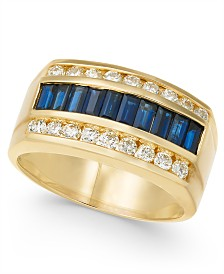 Men's Sapphire (2-1/4 ct. t.w.) & Diamond (9/10 ct. t.w.) Ring in 14k Gold
