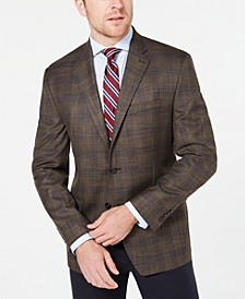Men's Classic-Fit UltraFlex Stretch Light Brown Plaid Sport Coat