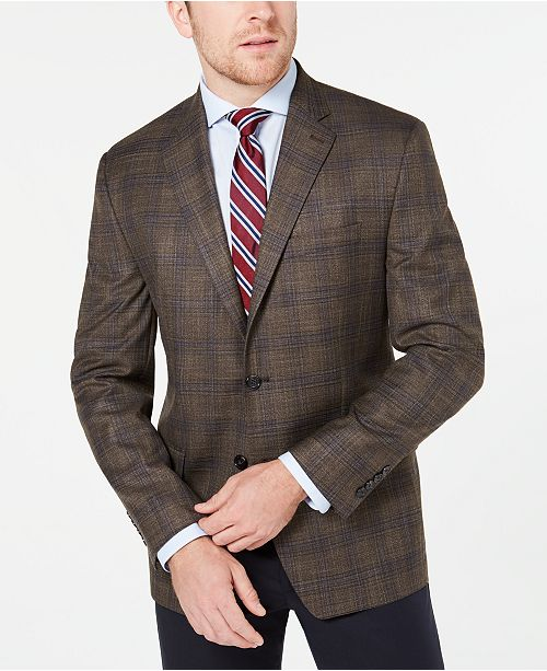 Lauren Ralph Lauren Men's Classic-Fit UltraFlex Stretch Light Brown Plaid Sport Coat