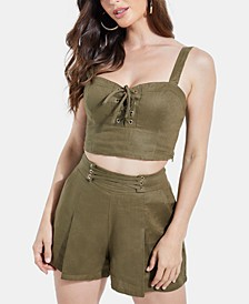 Nydia Printed Lace-Up Crop Top