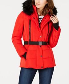 MICHAEL Michael Kors Belted Faux-Fur-Trim Puffer Coat
