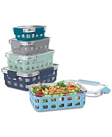 Ello DuraGlass Meal Prep Full Week 10-Pc. Food Storage Container Set, Blue