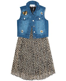 Rare Editions Big Girls 2-Pc. Leopard-Print Shift Dress & Denim Vest Set