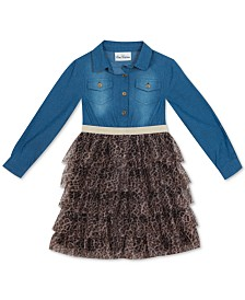 Rare Editions Big Girls Denim & Leopard-Print Tiered Dress