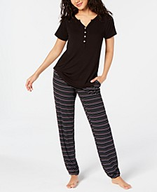 Super Soft Henley Sleep T-Shirt & Sleep Pants, Created for Macy's