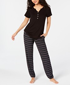 Alfani Super Soft Henley Sleep T-Shirt & Sleep Pants, Created for Macy's