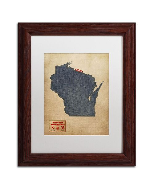 """Trademark Global Michael Tompsett 'Wisconsin Map Denim Jeans Style' Matted Framed Art - 14"""" x 11"""""""
