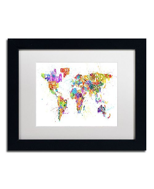 "Trademark Global Michael Tompsett 'Paint Splashes Text Map of the World' Matted Framed Art - 14"" x 11"""