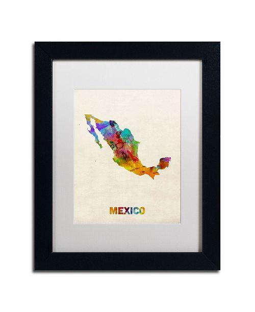 "Trademark Global Michael Tompsett 'Mexico Watercolor Map' Matted Framed Art - 14"" x 11"""