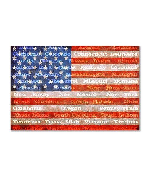 """Trademark Global Michelle Calkins 'American States with Flags' Canvas Art - 12"""" x 19"""""""