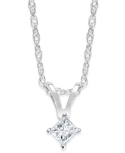 10k White Gold Necklace, Princess-Cut Diamond Accent Pendant