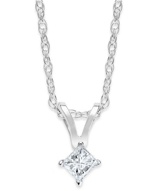 Macy's 10k White Gold Necklace, Princess-Cut Diamond Accent Pendant