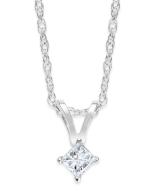 10k White Gold Necklace, Princess-Cut Diamond Accent Pendant