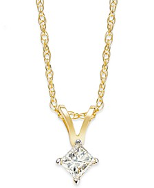 Princess-Cut Diamond Pendant Necklace in 10k Yellow or White Gold (1/6 ct. t.w.)