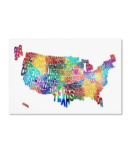 "Trademark Global Michael Tompsett 'United States Typography Text Map 2' Canvas Art - 12"" x 19"""