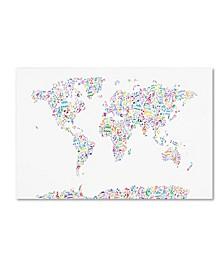 "Michael Tompsett 'Music Notes Map of the World' Canvas Art - 12"" x 19"""