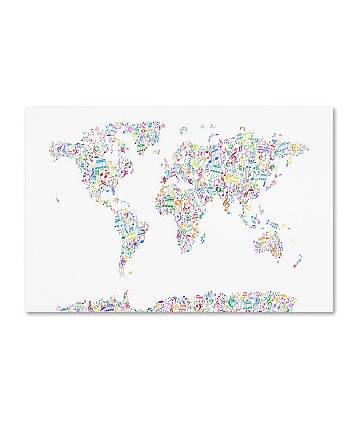 "Trademark Global Michael Tompsett 'Music Notes Map of the World' Canvas Art - 12"" x 19"""