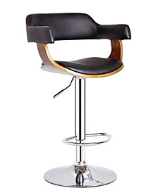 Contemporary Swivel Adjustable Barstool with Padded Armrests