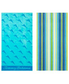 Tommy Bahama Oceans Marlin/Brazilian Stripe 2-Pc. Beach Towel Set