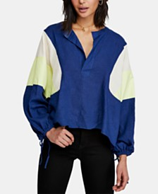 Free People Beating Hearts Colorblocked Drawstring Top