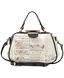 Patricia Nash Antica Newspaper Print Leather Satchel