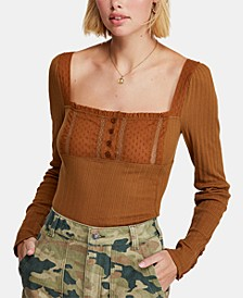 Sugar Sugar Square-Neck Lace-Trim Top