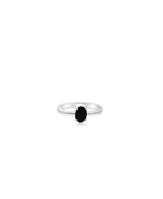 Macy's Oval Black Onyx (1 ct. t.w.) Stack Ring Set in Gold Plated Sterling Silver