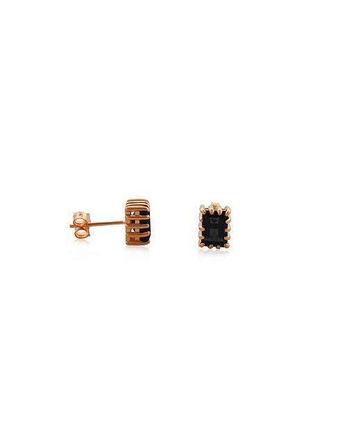 Macy's Smoky Quartz (1 ct. t.w.) Stud Earrings Set in Gold Plated Sterling Silver