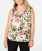 124819684091e0 Kasper Plus Size Floral-Print Top