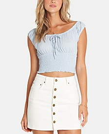 Juniors' Cotton Denim Skirt