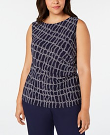 Anne Klein Plus Size Rope-Print Gathered Top